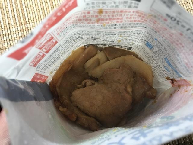 セブンプレミアム:豚ロース生姜焼 チンして袋を開封したところ